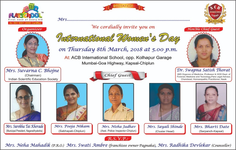 INVITED AS CHIEF GUEST FOR WOMEN'S DAY PROGRAMME AT CHIPLUN
